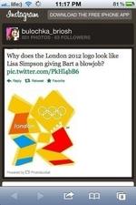 ■ii._ life:) *9* ¿,C- 11:17 PM 81 % C MUH, DOWNLOAD THE FREE IPHONE APP bulochka_briosh 501 PHOTOS • 63 FOLLOWERS Why does the London 2012 logo look like Lisa Simpson giving Bart a blo\\job? pic.twitter.com/PkHl4bB6 ♦> Reply Retweet if Favorite Powered by 23 Photobucket PQ IÔ